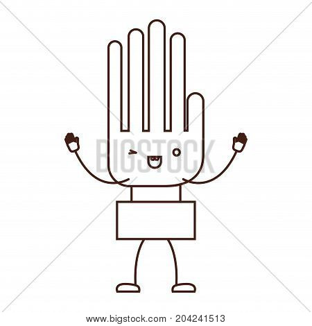 hand kawaii caricature with open arms standing in brown color contour vector illustration