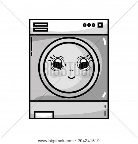 grayscale kawaii cute happy washing machine vector illustration
