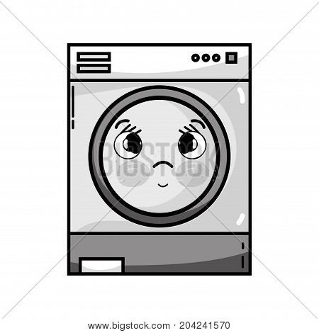 grayscale kawaii cute sad washing machine vector illustration