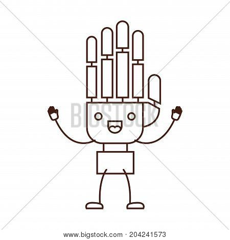 robotic hand kawaii caricature with open arms standing in brown color contour vector illustration