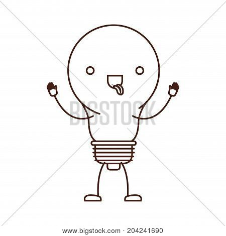 light bulb kawaii caricature in brown color contour vector illustration