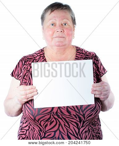 Satisfied Senior Woman Holding Blank Placard, Place Your Own Text, Isolated, White Background