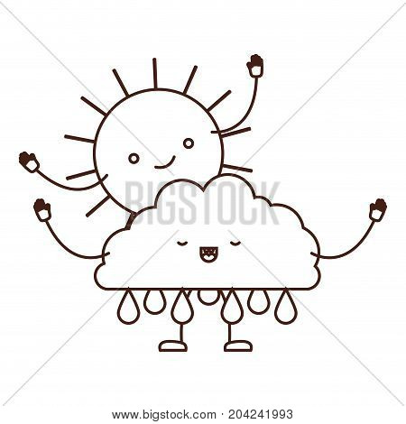 clouds with rain and sun kawaii caricature in brown color contour vector illustration