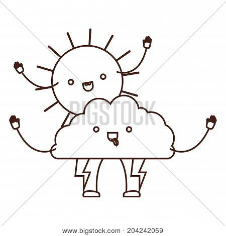 cloud with lightnings and sun kawaii caricature in brown color contour vector illustration