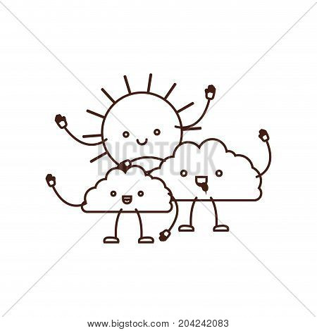clouds with sun kawaii caricature in brown color contour vector illustration
