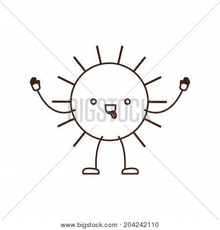 sun kawaii caricature in brown color contour vector illustration