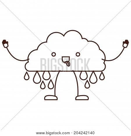 cloud with raindrops kawaii caricature in brown color contour vector illustration