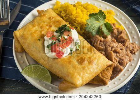 Deep Fried Beef Chimichanga Burrito