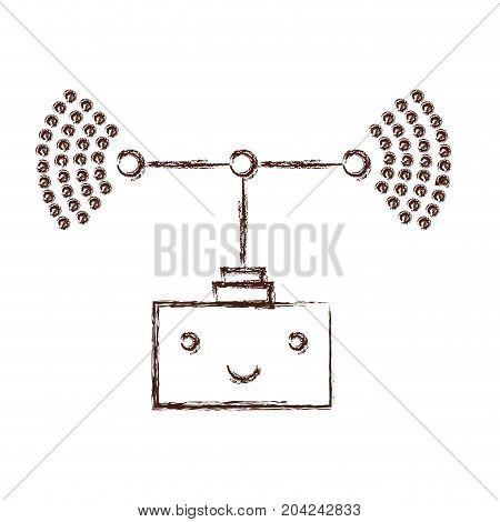 transmission antenna kawaii caricature in blurred brown color contour vector illustration