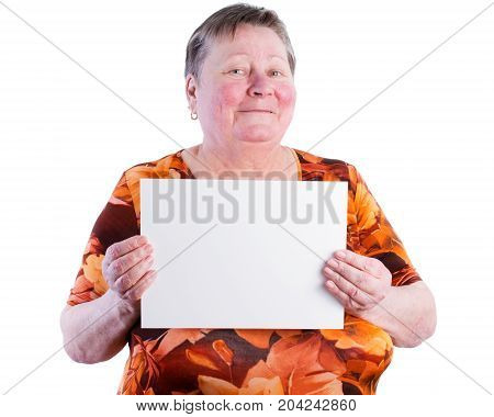 Happy Smiling Senior Woman Holding Blank Placard, Place Your Own Text, Isolated, White Background