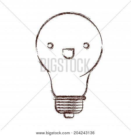 light bulb kawaii caricature in blurred brown color contour vector illustration