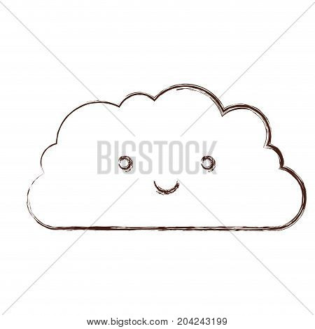 cloud kawaii caricature in blurred brown color contour vector illustration