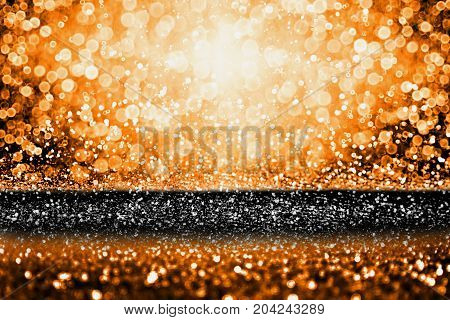 Abstract modern dark orange black glitter sparkle background for happy birthday party invite, spooky Fall Halloween bash magic design, October kid trick or treat night, Thanksgiving or sale poster