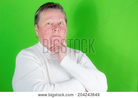 Serious Senior Woman, Isolated Studio Portrait