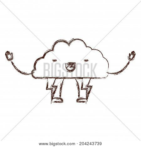 cloud with lightnings kawaii caricature in blurred brown color contour vector illustration