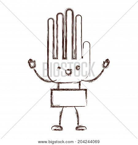 hand kawaii caricature with open arms standing in blurred brown color contour vector illustration
