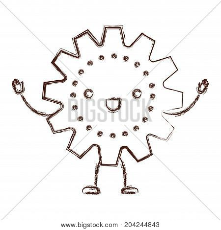 gear kawaii caricature with open arms standing in blurred brown color contour vector illustration