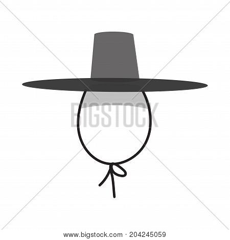 Vector illustration: traditional Korean Gat hat isolated. Gat hat was worn by men along with Hanbok, Korean traditional clothing, during the Joseon period.