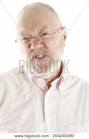 Elderly Man Posing On White Background