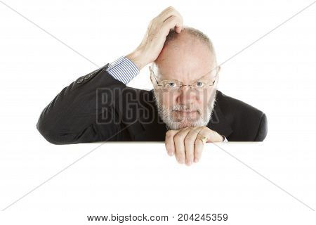 Elderly Man Posing On White Background