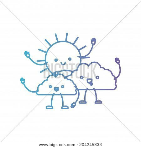 clouds with sun kawaii caricature in color gradient silhouette from purple to blue vector illustration