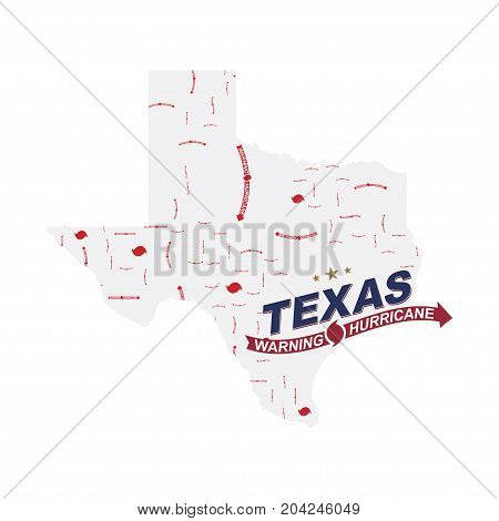 Warning Hurricane In Texas. Symbols With Maps And Arrows On A White Background. Flat Vector Illustra