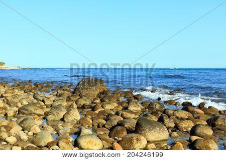 Rocky beach, Montauk Point, Long Island, New York