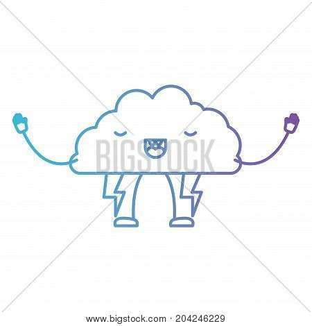cloud with lightnings kawaii caricature in color gradient silhouette from purple to blue vector illustration