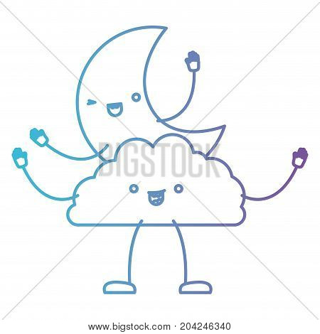 moon and cloud kawaii caricature in color gradient silhouette from purple to blue vector illustration