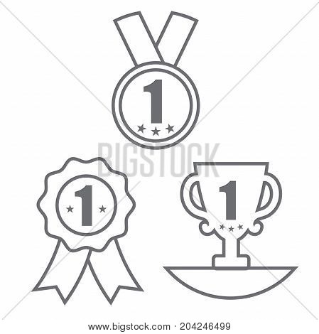 Medal with Trophy and Ribbon Award Icon Set