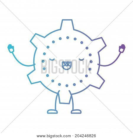 cogwheel icon kawaii caricature with open arms standing in color gradient silhouette from purple to blue vector illustration