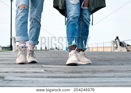 People Walking, Lower Legs Close Up
