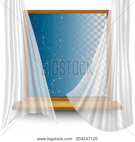 Wooden window frame with curtains and water droplets on the transparent background. Vector