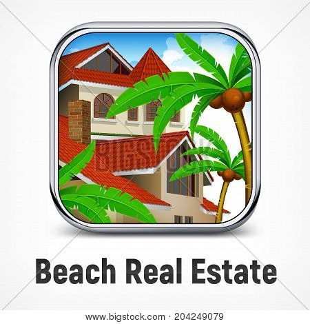 Beach real estate design with cottage and palm trees tropical life vector illustration