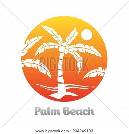 Tropical palm trees orange summer holiday emblem vector illustration