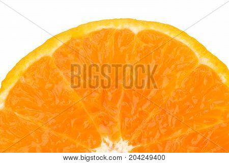 A half of fresh juicy orange fruit slice isolated on white background with copy space for text. Natural vitamin C antioxidant concept.