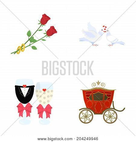 Two red roses with rings, pigeons kissing with hearts, wedding glasses with bows and champagne, a carriage for a festive ceremony. Wedding set collection icons in cartoon style vector symbol stock illustration web.