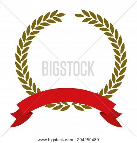 olive branch golden crown and red ribbon on bottom in closeup vector illustration