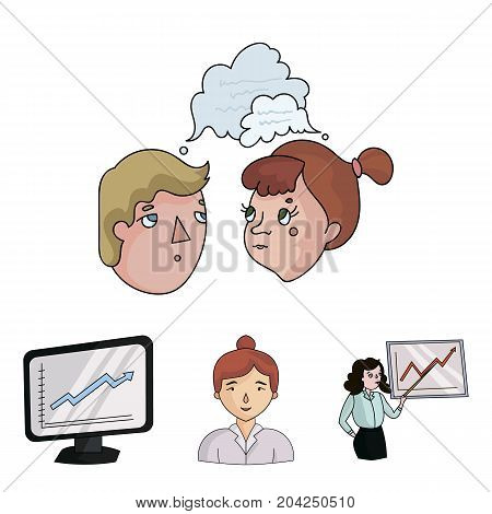 Businesswoman, growth charts, brainstorming.Business-conference and negotiations set collection icons in cartoon style vector symbol stock illustration .