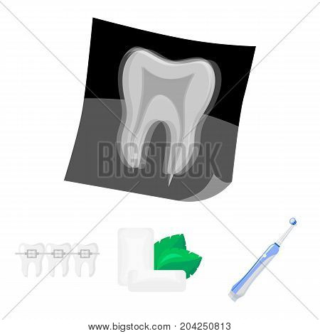 Mint chewing gum with mint leaves, toothbrush with bristles, bregettes with teeth, X-ray of the tooth. Dental care set collection icons in cartoon style vector symbol stock illustration .