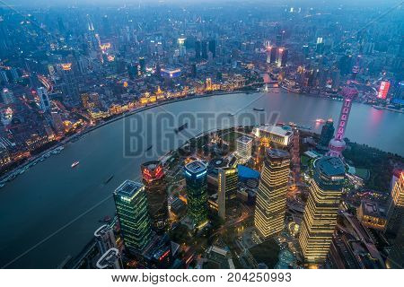 Overlooking the view of Shanghai city in China