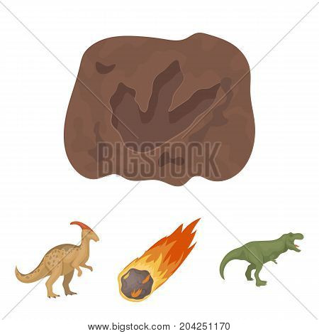 A falling meteorite, parasaurolophus, tyrannosaurus, an imprint of a dinosaur's foot. The dinosaur and prehistoric period set collection icons in cartoon style vector symbol stock illustration .