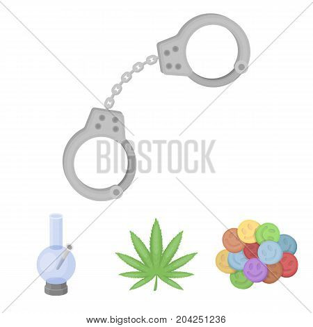 Hemp leaf, ecstasy pill, handcuffs, bong.Drug set collection icons in cartoon style vector symbol stock illustration .