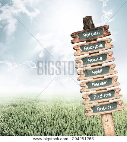 Vintage wooden sign with 7R Refuse, Recycle, Reuse, Refill, Repair, Reduce and Return wording on nature background, ecology concept.