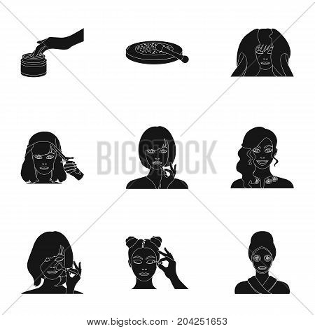 Salon, means, hygiene, and other  icon in black style.Smile, hairdresser, cosmetic, icons in set collection.