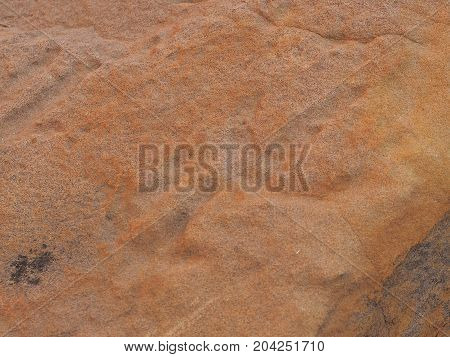 Rock carving Petroglyph on red rock surface at N'Dhala Gorge east MacDonnell ranges near Alice Springs Northern Territory Australia 2017