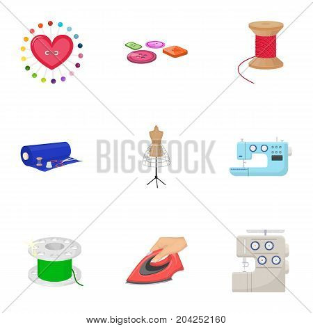 coil with thread, sewing machine, fabric and other equipment. Sewing and equipment set collection icons in cartoon style vector symbol stock illustration .