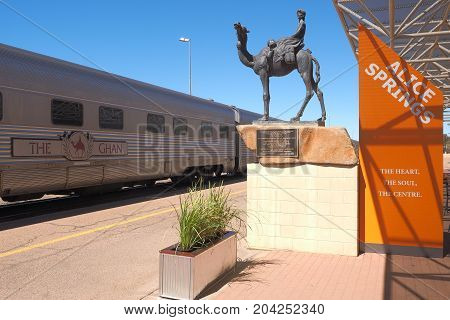 Alice Springs Australia - September 7 2017: The famous Ghan railway at the Alice Springs terminal with a local sign