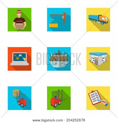 Forklift, cargo plane, goods, documents and other items in the delivery and transportation. Logistics and delivery set collection icons in flat style isometric vector symbol stock illustration .