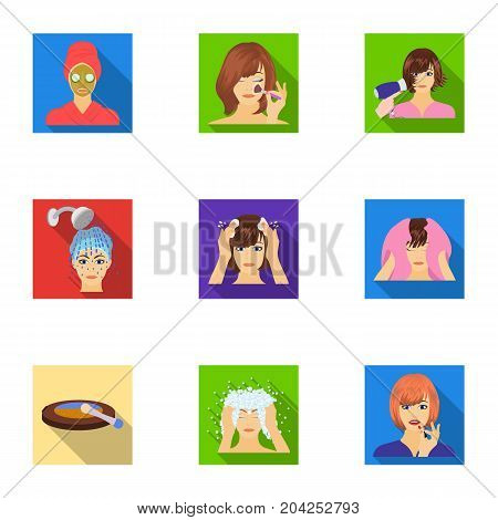 Salon, means, hygiene, and other  icon in flat style.Smile, hairdresser, cosmetic, icons in set collection.